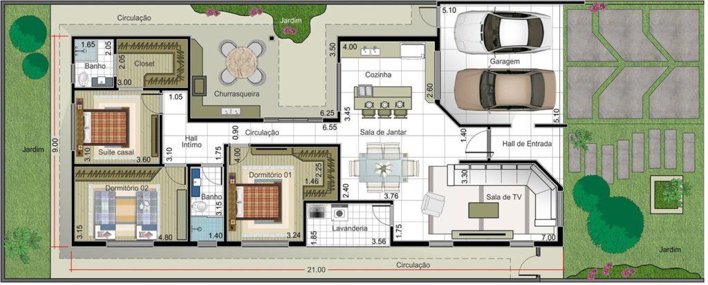 plantas de casas térreas com duas vagas de garagem