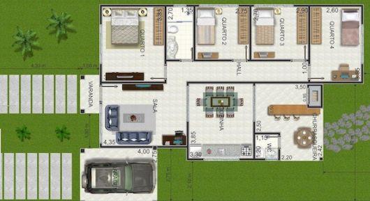 plantas de casas térreas com quatro quartos