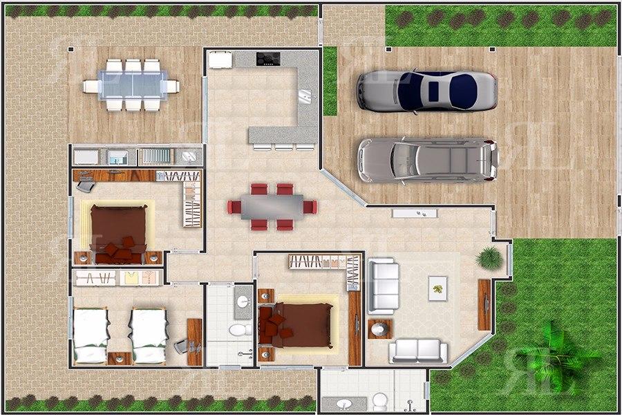 plantas de casas térreas com dois quartos