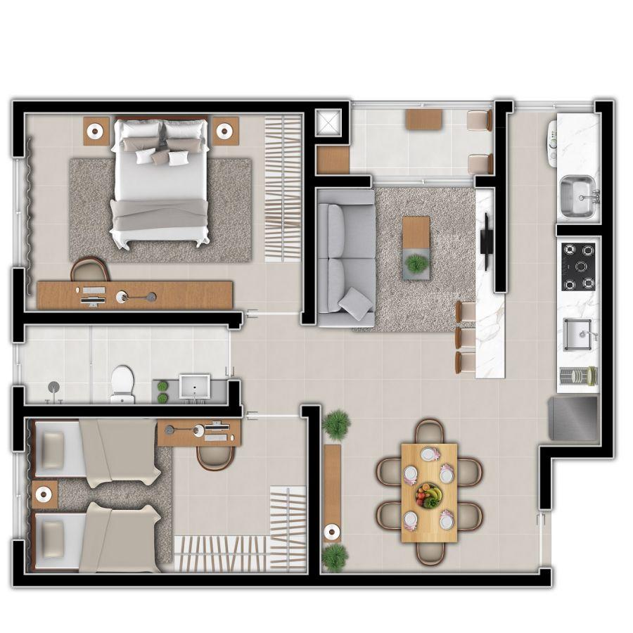 plantas de casas térreas pequenas com dois quartos