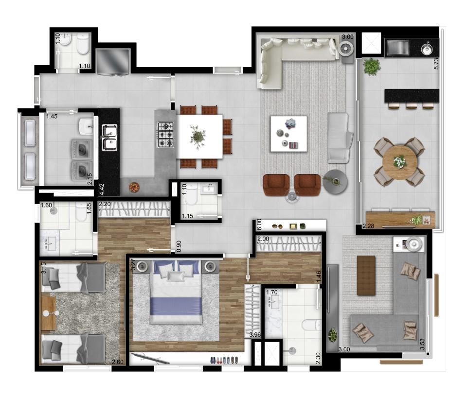plantas de casas térreas com dois quartos e salas integradas