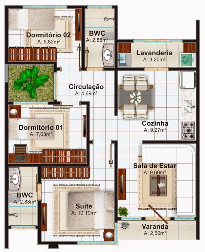 plantas de casas térreas com 3 quartos e suíte