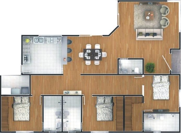 plantas de casas térreas com 3 quartos e living
