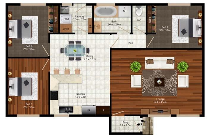 plantas de casas térreas com sala grande