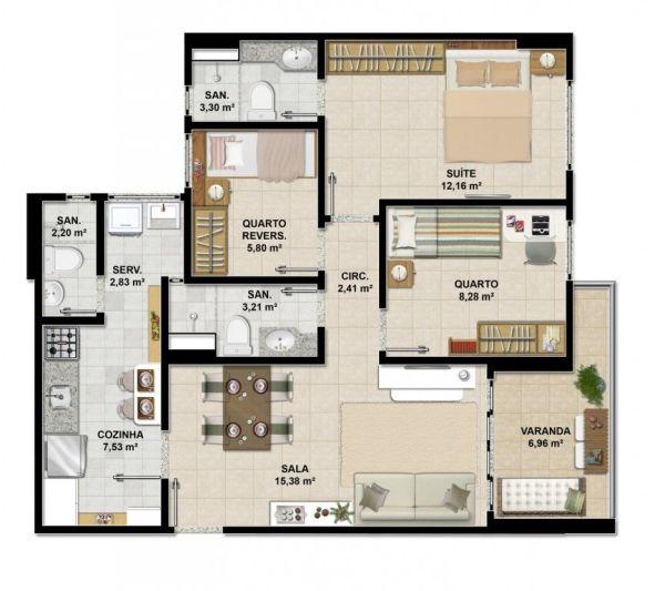 plantas de casas com 3 quartos com varanda e sala