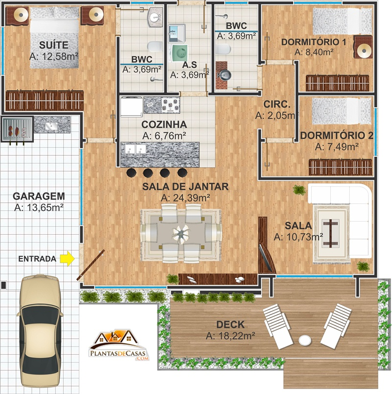 planta quadrada de casa moderna