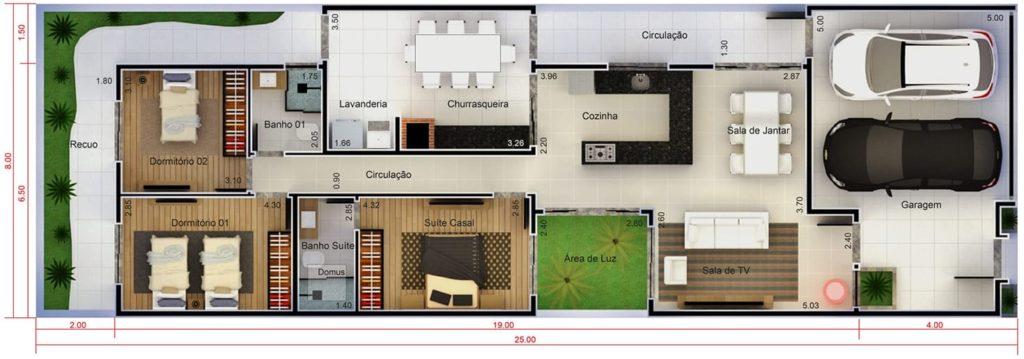 planta estreita de casa moderna