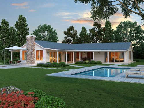 projeto de casa em L com piscina
