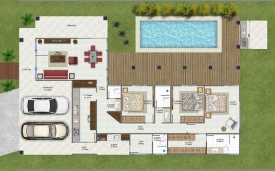 planta para casa com piscina