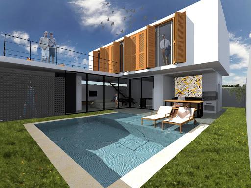 projeto de casa em l com sacada e piscina