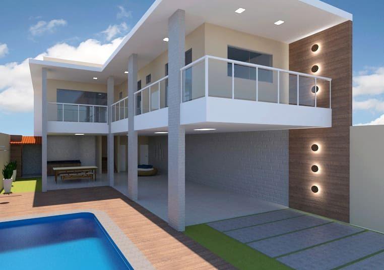 projeto de casa em L com painel de madeira