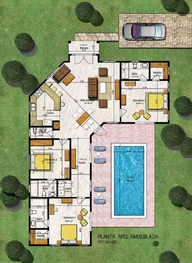 casa em L com 3 quartos, piscina e jardim