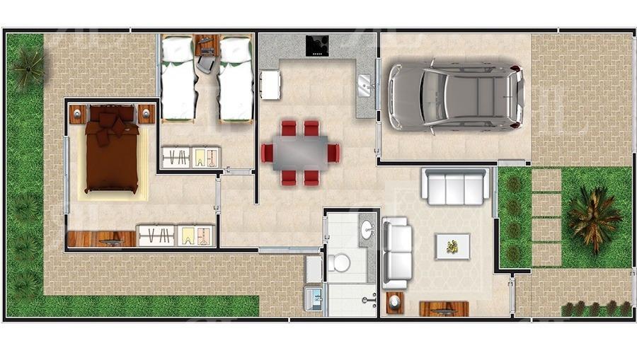 planta de casa 2 quartos com jardim na frente