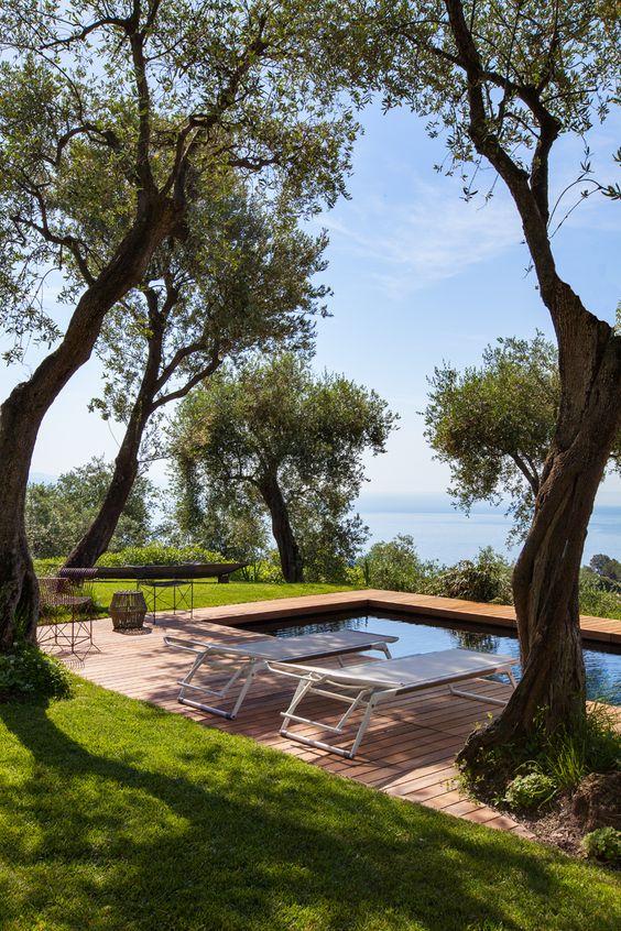 Casa de campo com piscina na sombra.