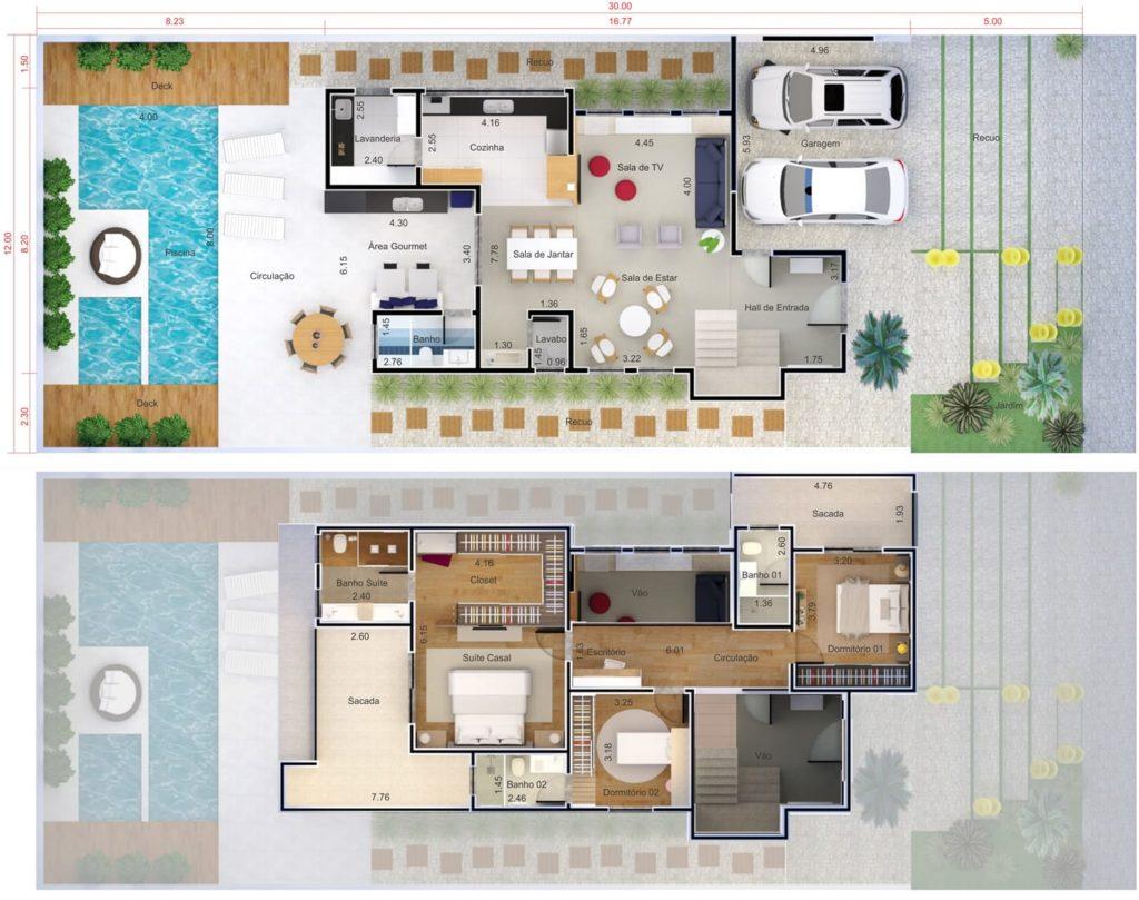 planta de casa com closet e piscina