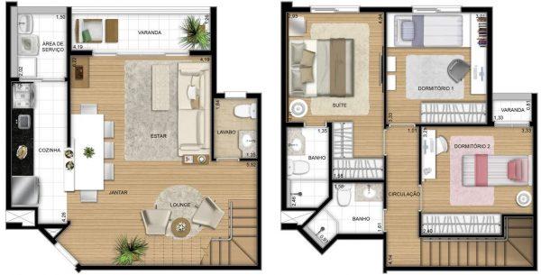 plantas de casas com 3 quartos  sobrado com lounge
