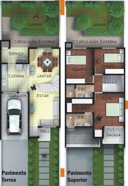 plantas de casas com 3 quartos  sobrado com sacada