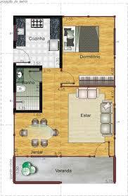 planta de casa pequena com um dormitório