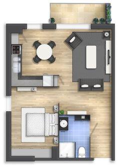 planta de casa pequena estilo studio