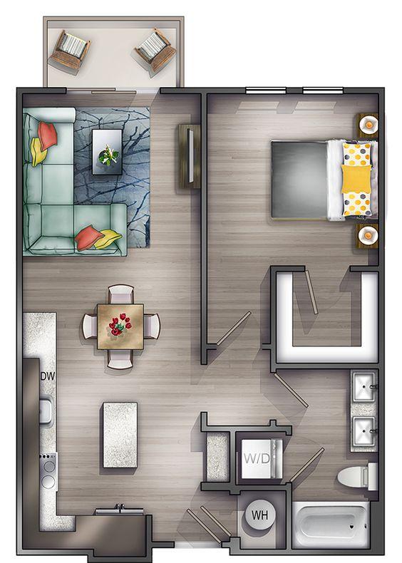 planta de casa pequena com closet
