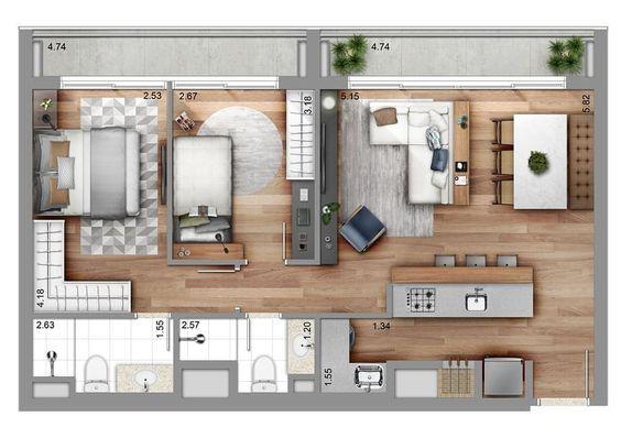plantas de casas pequenas com dois quarto e cozinha