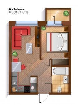 planta de casa com sala e cozinha