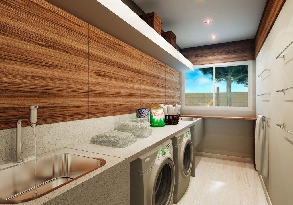 Área de serviço simples com bancada de granito e painel de madeira.
