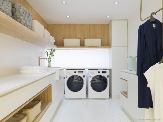 Decoração moderna com armários brancos com linhas retas.