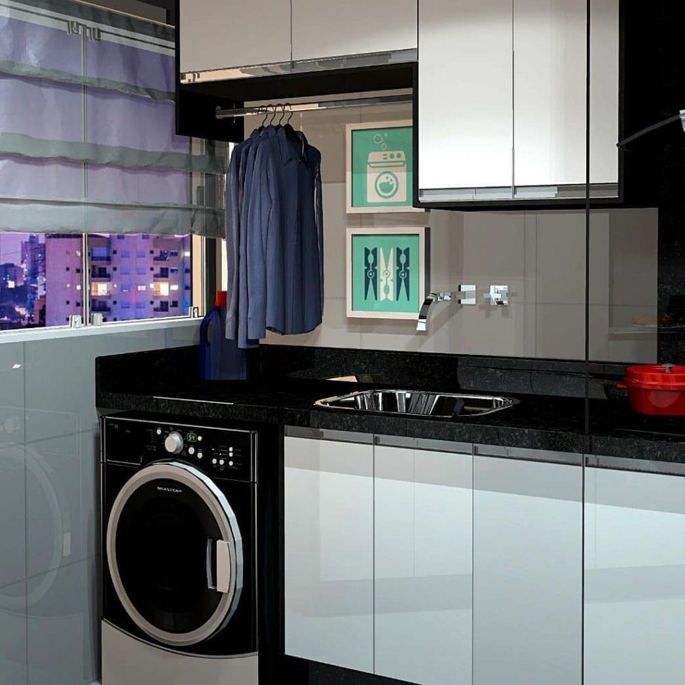 Decoração simples com armário preto e branco e tanque de inox.