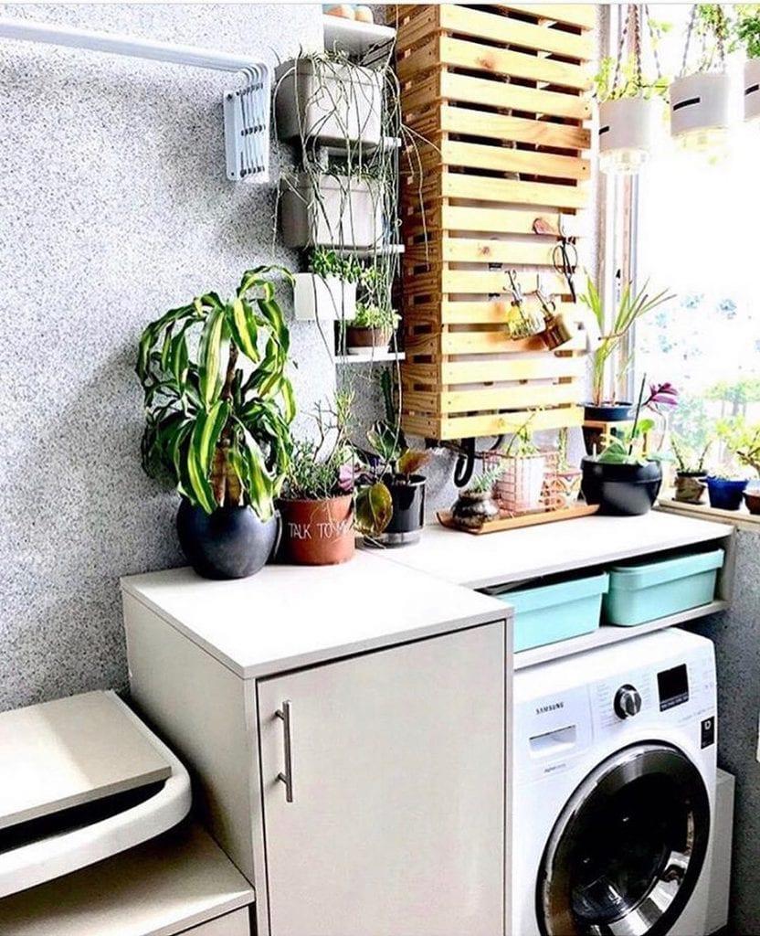 Decoração simples com vasos de plantas.