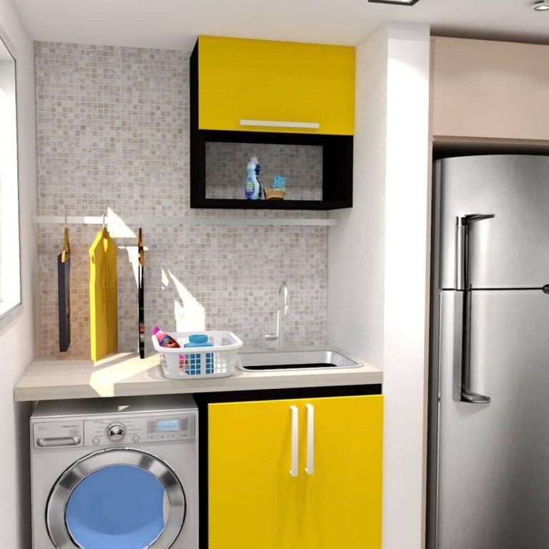 Área de serviço simples com armário amarelo.