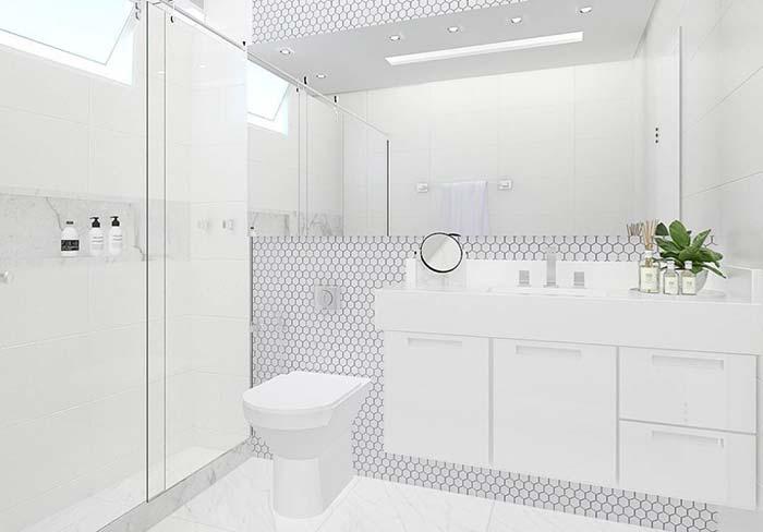 Decoração clean com azulejo hezagonal.