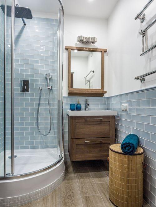 box de banheiro redondo azul