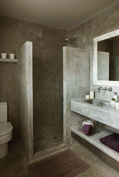 banheiro de cimento queimado inteiro