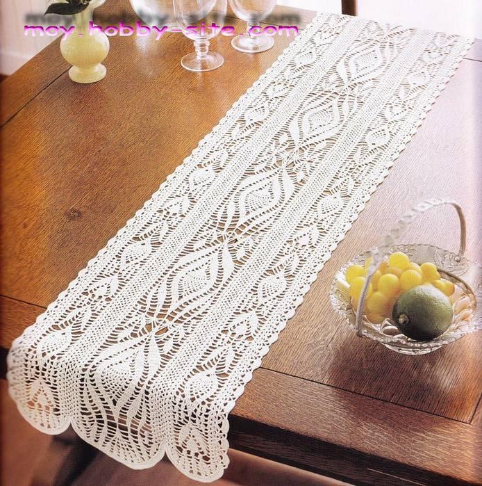 Caminho de mesa de crochê simples, branca e retangular.