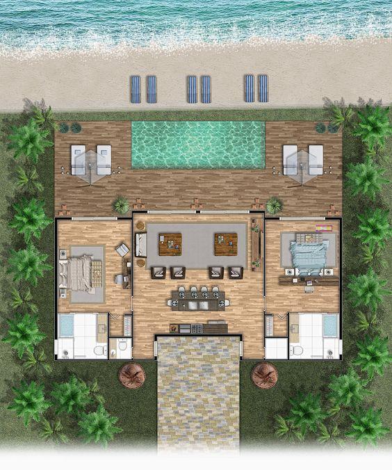 planta de casa com piscina e deck de madeira