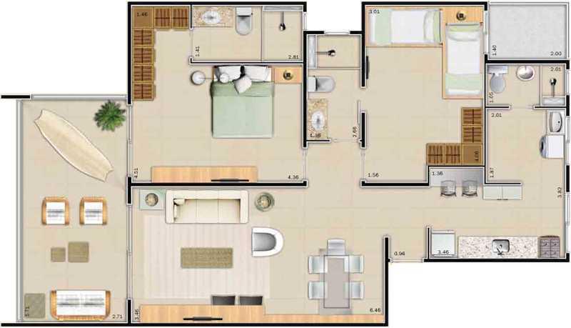 casa com dois quartos e uma suíte