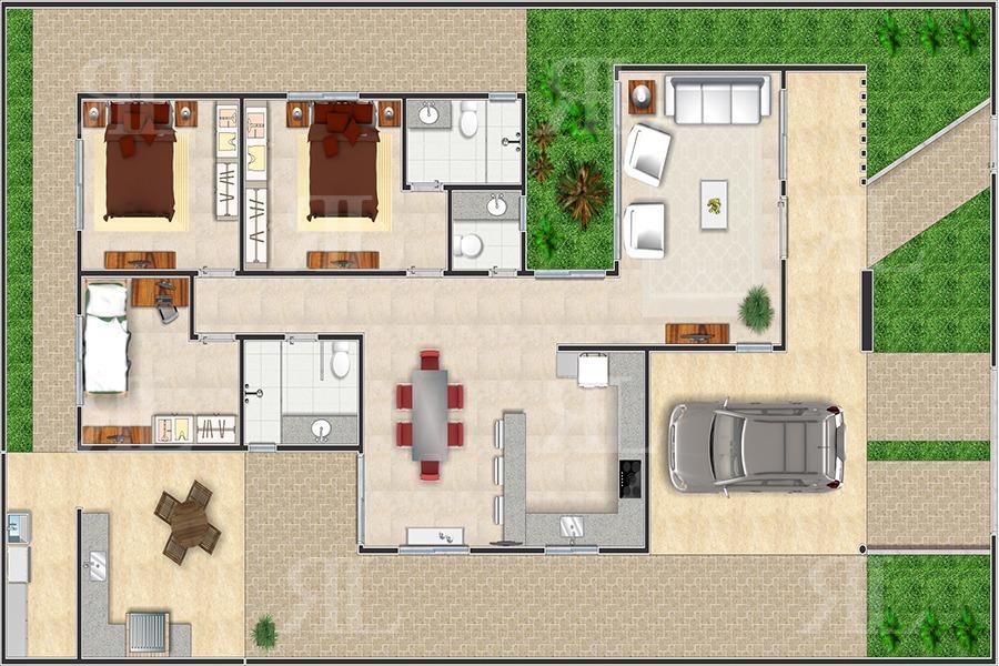 casa com cozinha integrada com a sala de jantar