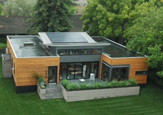 Visão de cima de uma casa container.