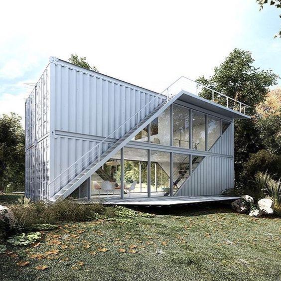 Casa container com faixa de vidro nos dois andares.