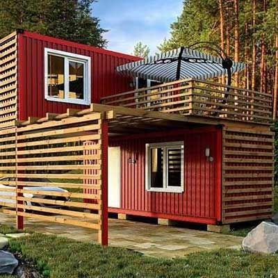 Casa container vermelha.