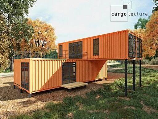 Casa container laranja.