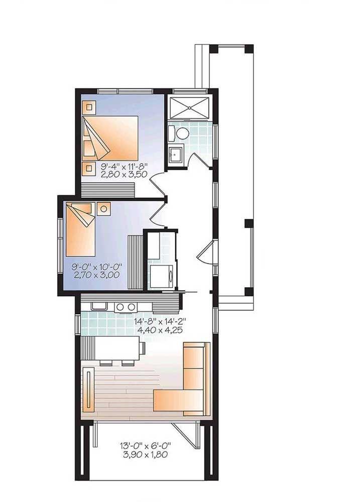 planta de casa pequena com dois quartos e lavanderia