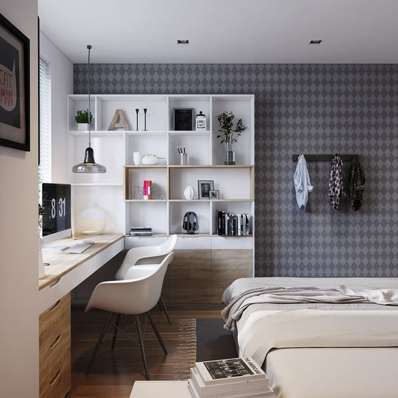 Casas pequenas com quarto integrado com escritório.