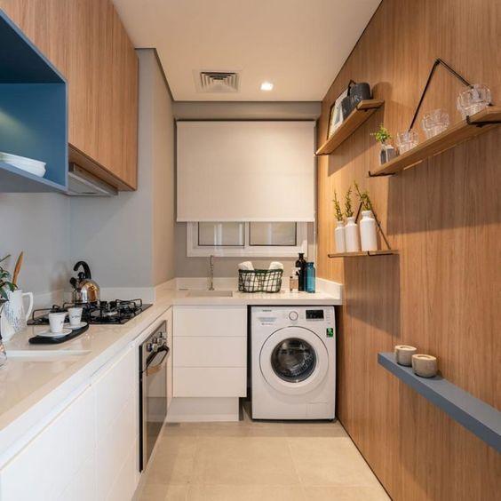 Casas pequenas com cozinha integrada com lavanderia.