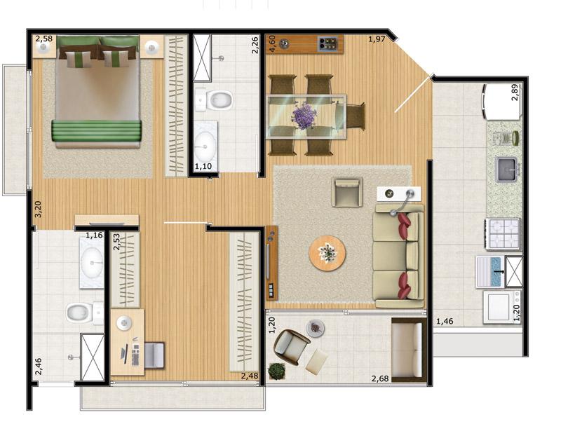 casa moderna com closet e suíte master