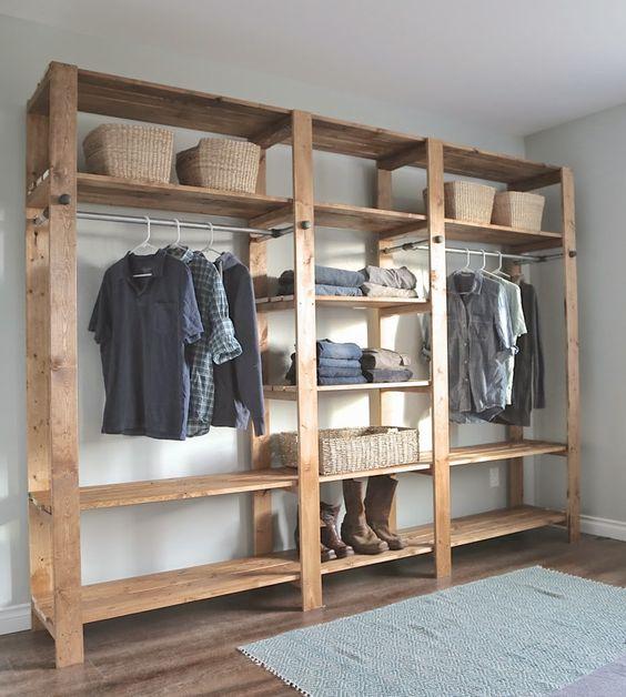 modelos de closet de madeira simples