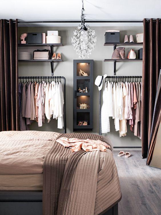 modelos de closet com cortina