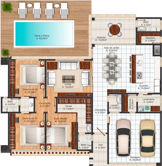 planta de casa moderna com piscina e closet