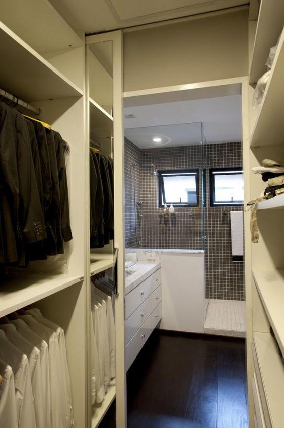 modelos de closet integrado com banheiro